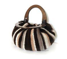 Brown Crocheted Handbag with Vertical Stripes, by NOTON by Raquel, $59.50  #blackfriday