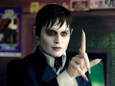 """JOHNNY DEPP as Barnabas Collins, in Tim Burton's """"Dark Shadows."""" After 200 years of entombment, Barnabas awakes in 1972 and, like a latter-day Rip van Winkle, has to readjust to the world of the living. With his wide-eyed, baffled manner, he mostly comes across like a visitor from another planet. He is at once recognizably human and inescapably different from the people around him. Alienation runs in his blood, literally."""