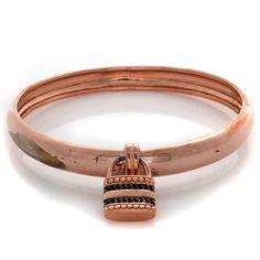 Bronzo Italia Rosetone Black Spinel Lock Charm Bangle Bracelet #BronzoItalia #Bangle
