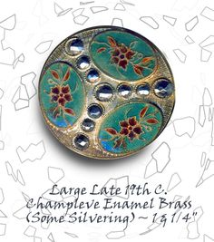 Image Copyright by RC Larner ~ 19th C. Champleve Enamel Button with 3 Floral Reserves & Cut Steels ~ R C Larner Buttons at eBay  http://stores.ebay.com/RC-LARNER-BUTTONS
