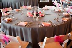 pink and grey wedding table