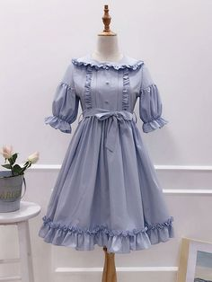 Rococo Lolita OP One Piece Dress Turndown Collar Puff Sleeve Bows Ruffles Frills Aqua Lolita Dresse Girls Frock Design, Kids Frocks Design, Baby Frocks Designs, Frocks For Girls, Dresses Kids Girl, Vestidos Vintage, Vintage Dresses, Simple Frocks, Style Kawaii