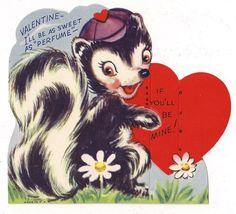 Cute Skunk Says He'll Be Sweet as Perfume  if you'll be mine!