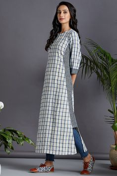 kurta with a side twist - fresh canvas & indigo checks - maati crafts Bold Stripes, Blazer Dress, Button Down Dress, Natural Red, Pin Tucks, Indian Designer Wear, Anarkali, Casual Wear, Indigo