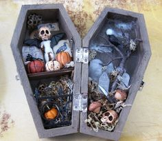 the Cemetary Miniature Coffin Shadowbox by AhtheMacabre on Etsy