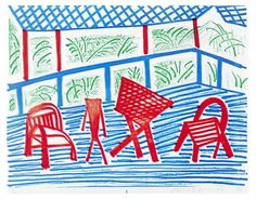 David Hockney, Two Red Chairs and Table, March 1986, Homemade print