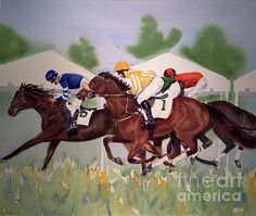 Original Watercolor (33 x 27 framed) and prints available. Stoneybrook Steeplechase