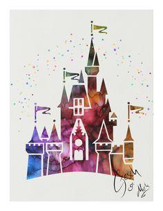 Disney Castle archival fine art print Watercolor by TentakittyInk