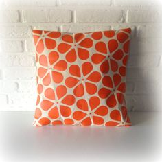 Retro Pillow cover, Orange pillow, pillows cover, Cushion cover,Throw pillow, flower pillow 16 x 16, 18 x 18, 20 x 20, 24 x 24, 26 x 26 inch on Etsy, $26.00