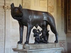 Rome and the legend of the she-wolf feeding Romulus and Remus, Capitoline Museum World History, Art History, Romulus And Remus, She Wolf, Lion Sculpture, Batman, Museum, Italy, Statue