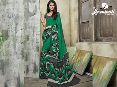 1888afa325 Get this beautiful dark green digital printed georgette saree with gray  colour blouse along with lace
