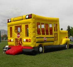 School Bus Bounce House. Back to school party