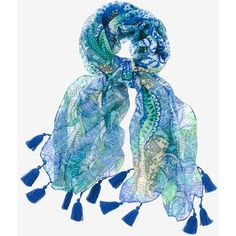 Chico's Mixed Medallions Scarf ($49) ❤ liked on Polyvore featuring accessories, scarves, blue, summer shawl, lightweight scarves, evening shawl, holiday scarves and blue shawl