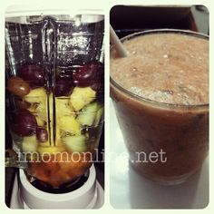 I am smoothie crazed! In my blender: grapes, carrot, pineapple, cucumber + apple juice and water
