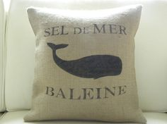 Burlap French Whale Pillow