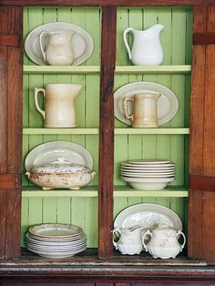 I like the idea of painting the back wall of shelving.
