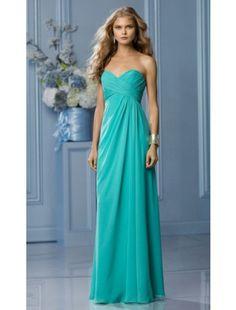 Column Sweetheart Chiffon Long Bridesmaid Dresses