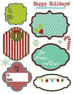 Free Printable Christmas Holiday Gift Tags - Happiness is Homemade
