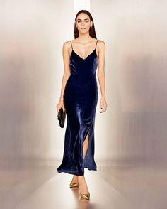 night6 - velvet blue slip dress long gown lookbook how to wear slip dress trend 2016