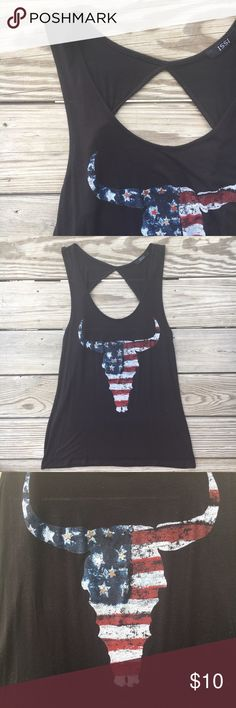 Black American Flag Bull Head Tank Top ISSI black open back tank top with antique looking American flag bull head. EUC, only worn twice. ISSI Tops Tank Tops