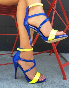 Blue and yellow strap high heel sandals
