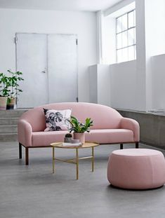 bloomingville pink sofa with copper and greenery | living room style | home decor | nature in pattern
