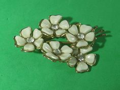 White & Clear Rhinestone 5 Flower Pin Brooch Vintage Trendy Style Elegant Jewelry Piece by HipTrends2015 on Etsy