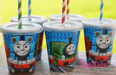 Kids Party Cups-Thomas the Train Birthday Party-Set of 8 on Etsy, $12.40