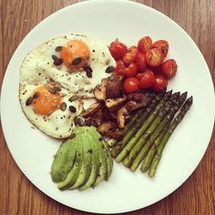 Well this combo just never gets old  buttery fried @clarence_court eggs with avocado, asparagus, sautéed mushrooms and tomatoes and some toasted mixed seeds! Happy weekend everyone!! P.s comment below if you want me to share my killer glute workout that I filmed this week...  I promise you... It's a good'n!! #TheBodyBible #CleanEatingAlice