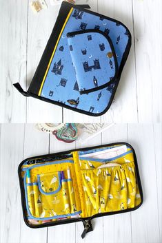 "Zippered organizer for cross stitch, hand embroidery. - four open pockets of cross stitch tools and scissors - thread organizer - 6 rows clear pockets for 24 pockets for small bobbins - 5 rings to hang your threads and open pocket - one pocket for around hoop - diameter till 7"" (17cm) - open pocket - storage for patterns and other stitch accessories Needle book: - felt for needles - holder - one lobster clasp - for thread keep or small scissors Needlebook closed the metal snap."