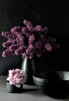 Lilacs and a peony.
