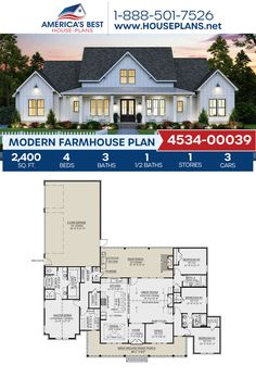 A fantastic 1-story Modern Farmhouse, Plan 4534-00039 details 2,400 sq. ft., 4 bedrooms, 3.5 bathrooms, split bedrooms, a kitchen island, an open floor plan, a wrap around porch, a home office, and a mudroom. #modernfarmhouse #farmhouse #architecture #houseplans #housedesign #homedesign #homedesigns #architecturalplans #newconstruction #floorplans #dreamhome #dreamhouseplans #abhouseplans #besthouseplans #homesweethome #buildingahome #buildahome #residentialplans #residentialhome