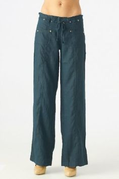 Women's 100% linen pants with drawstring waist (7014, Navy, S) Tops and Bottoms HS. $34.99