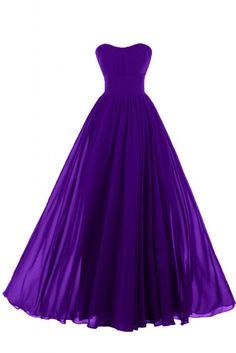 Sunvary Liebling Herzform Abendkleider Lang Chiffon Cocktailkleider Brautjungfernkleider Partykleider-36-Violett