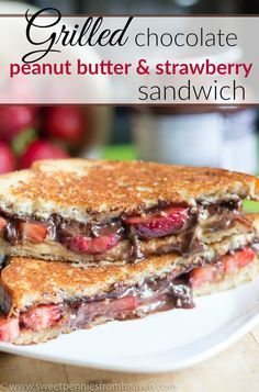 Ever had a Grilled Chocolate Peanut Butter Strawberry Sandwich? This grilled sandwich is full of so much gooeyness! It's basically like having dessert for breakfast!!