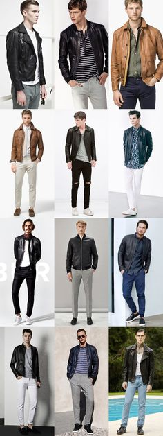 Men's Spring/Summer Leather Jackets Outfit Inspiration Lookbook