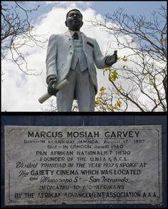 Statue of Marcus M. Garvey, founder of the U. Located in Harris Promenade, San Fernando, Trinidad. Black History Books, Black History Facts, Israel History, Warrior Queen, San Fernando, African Diaspora, African American History, Black Power, Black And Brown