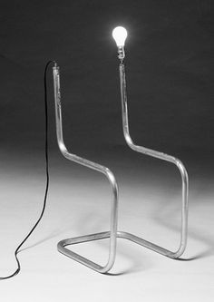 "Gord Peteran, Study Station: A drawing in space by Marcel Breuer. Tubular metal chair frame, Electricity.  31""h x 14""w x 16""d"