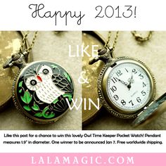 Here comes our first gift to celebrate the arrival of the new year! Join us to win this lovely Owl Time Keeper Watch Necklace on our FB page /shoplalamagic! Good luck lovelies!!