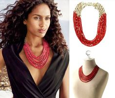 Luxurious Dark Red Multi Layers Beaded Statement Chunky Necklace