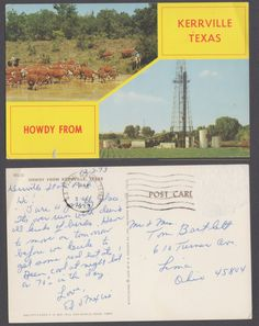 Post date: PM, December 3rd, 1973 Post Location: U.S. Postal Service, TX 780 Recipient: Mr. & Mrs. Bartlett Message: 12-2-73 Kerrville State Park Hi! Sure a pretty place. Its overrun with deer & all kinds of birds. Have to move on tomorrow before we decide to get some real estate! Been cool at night but in 70s in the day. Love, Ed & Maxine