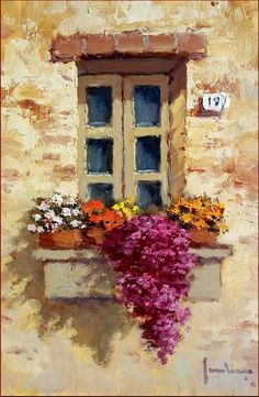 Romantic Window With Flowers Painting by Ernesto Scudiero