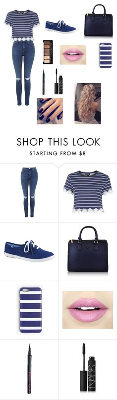 """Blue Vibes"" by louisse-betina ❤ liked on Polyvore featuring Topshop, Keds, J.Crew, Fiebiger, Barry M, NARS Cosmetics and Lottie"