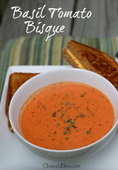 Tomato Bisque I love a warm bowl of soup on crisp Fall days! This easy Basil Tomato Bisque recipe uses ingredients you likely have on hand already.Glory Days Glory Days or Glory Daze may refer to: Tomato Bisque Recipe, Tomato Basil Bisque, Easy Tomato Basil Soup, Tomato Soups, Cream Of Tomato Soup, Soup Recipes, Vegetarian Recipes, Cooking Recipes, Canned Tomato Recipes