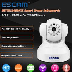 ESCAM QF001 Mini WiFi IP Camera HD 720P CCTV Security Camera System P2P IR Cut Two Way Audio Micro SD Card Slot Night Vision