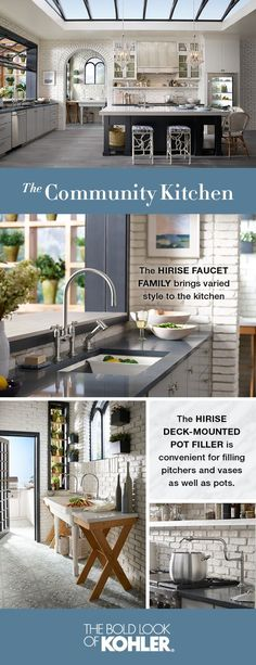 Reminiscent of the Mediterranean, this open-concept kitchen is served alongside thoughtful utilitarian design with sink and faucet pairings that create a sense of flow and stability throughout.