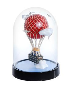Louis Vuitton Vintage Rare Hot Air Balloon Snow Globe, Red/Black/Gold