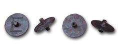 """Bronze ballots, 4th century B.C. D. Athnes, Agora Museum.. One ballot has a solid axle, the other a hollow axle. The ballot with the solid axle bears the letter epsilon, E, which might designate a jury section, or, more likely, a tribe. The ballot with the pierced axle is inscribed: """"psephos demosia,"""" public ballot. Most of the ballots uncovered in the Agora are of bronze, the majority are datable to the 4th century B.C.E."""