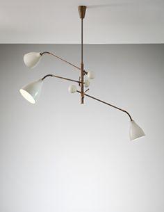 PHILLIPS : UK050114, Arredoluce, Three-armed adjustable ceiling lightPainted aluminium, tubular brass, painted brass, brass.  82 x 138 x 83 cm (32 1/4 x 54 3/8 x 32 5/8 in.)