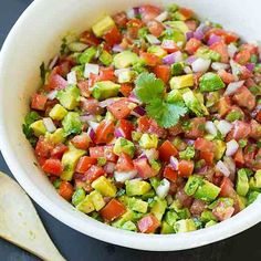 Avocado Salsa  Made by @cookingclassy Follow her @cookingclassy  Yield: About 6 servings  Ingredients 6 medium roma tomatoes (20 oz), seeded and diced 1 cup chopped red onion, chopped 1 large or 2 small jalapeños, seeded and chopped (1/4 cup. Leave seeds if you like heat) 3 medium avocados, semi-firm but ripe, peeled, cored and diced 3 1/2 Tbsp olive oil 3 Tbsp fresh lime juice 1 clove garlic, finely minced 1/2 tsp salt (more or less to taste as desired) 1/4 tsp freshly ground black pepper…